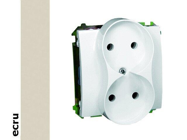 Gniazdo ścienne modułowe Basic podwójne b/u z przesłonami BMG2Mz.01/10 ecru Kontakt Simon