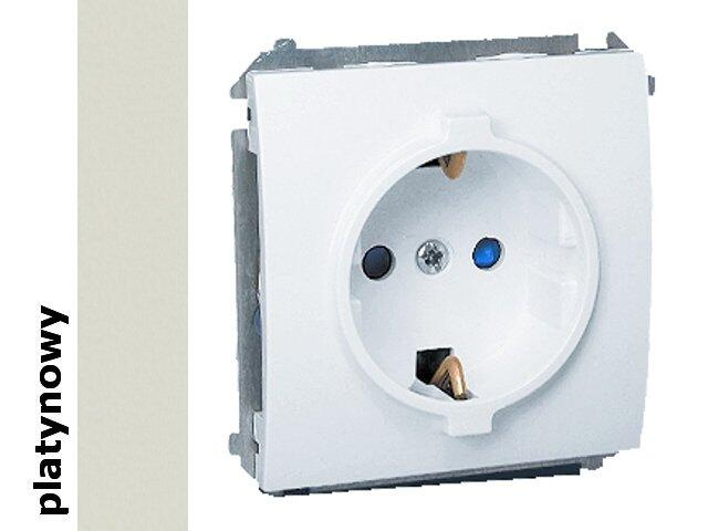 Gniazdo ścienne modułowe Classic z/u Schuko MGSZ1e.01/27 platynowy Kontakt Simon