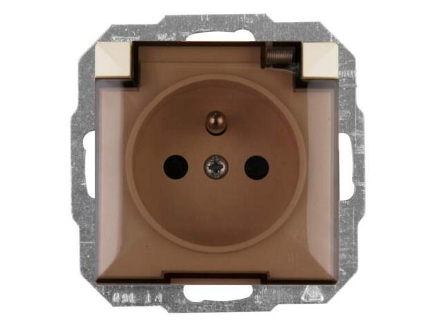 Gniazdo ścienne modułowe PERŁA IP44 poj.z/u klap.dym.PT-16PHL beżowy Abex