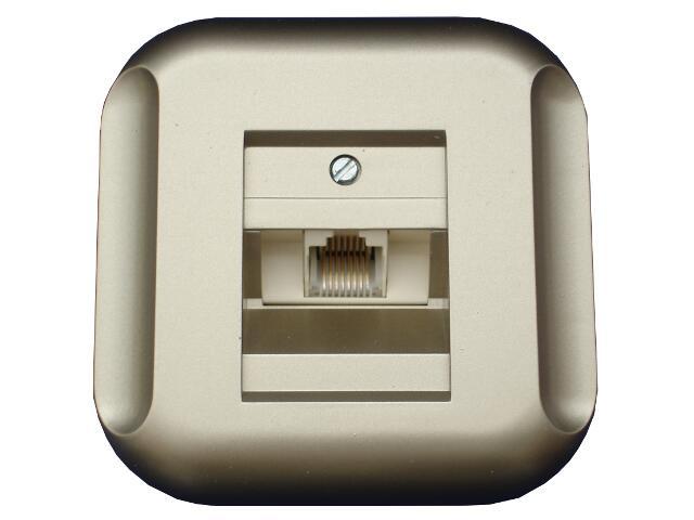 Gniazdo ścienne TOPAZ-BIS telefoniczno-komputerowe pojedyncze GTP-10T satyna Abex