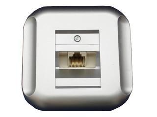 Gniazdo ścienne TOPAZ-BIS telefoniczno-komputerowe pojedyn. GTP-10T srebrny Abex