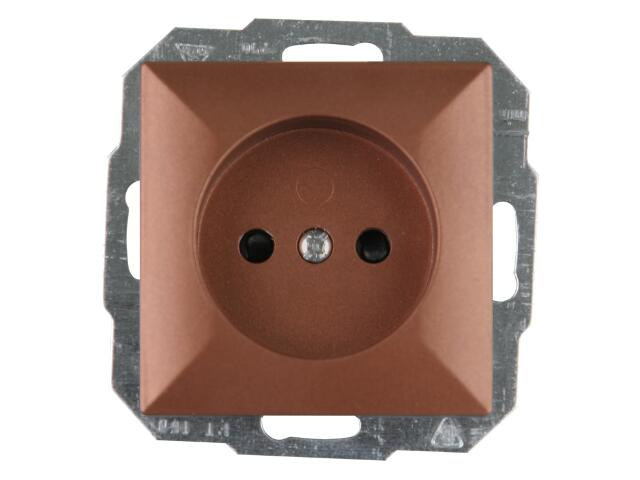 Gniazdo ścienne modułowe PERŁA IP20 pojedyncze b/u PT-15P miedź Abex