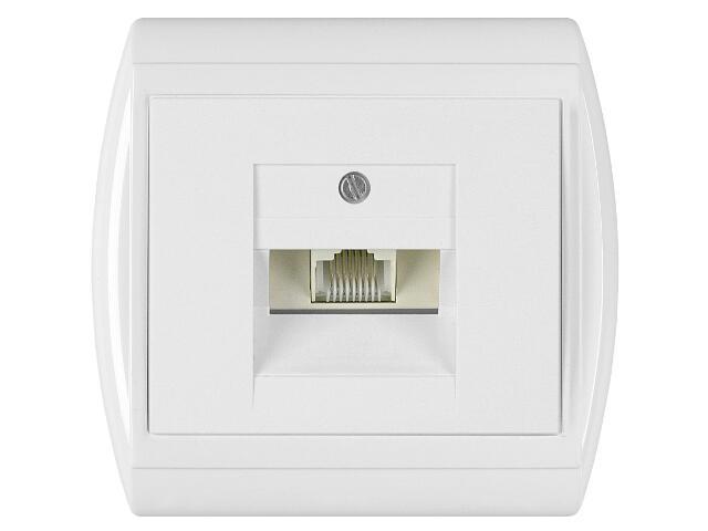 Gniazdo ścienne NOVA telefoniczno-komputerowe pojedyncze GTP-10N biały Abex