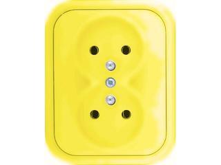 Gniazdo ścienne MILLENIUM podwójne PLM.G2Z.ŻŁ.BK żółty Polmark