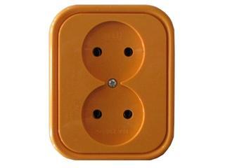 Gniazdo ścienne MILLENIUM podwójne PLM.G2B.PM.BK pomarańczowy Polmark