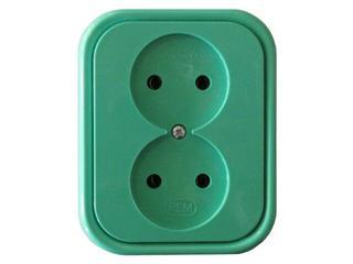 Gniazdo ścienne MILLENIUM podwójne PLM.G2B.ZI.BK zielony Polmark