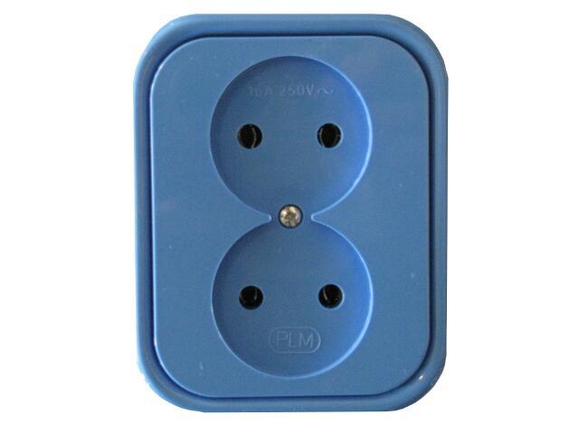 Gniazdo ścienne MILLENIUM podwójne PLM.G2B.NI.BK niebieski Polmark