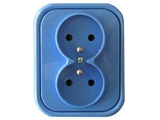 Gniazdo ścienne MILLENIUM podwójne PLM.G2Z.NI.BK niebieski Polmark