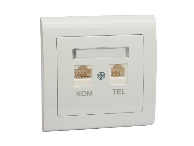 Gniazdo ścienne AURA komputerowo-telefoniczne GPKT-1U/F FOREX biały Polmark