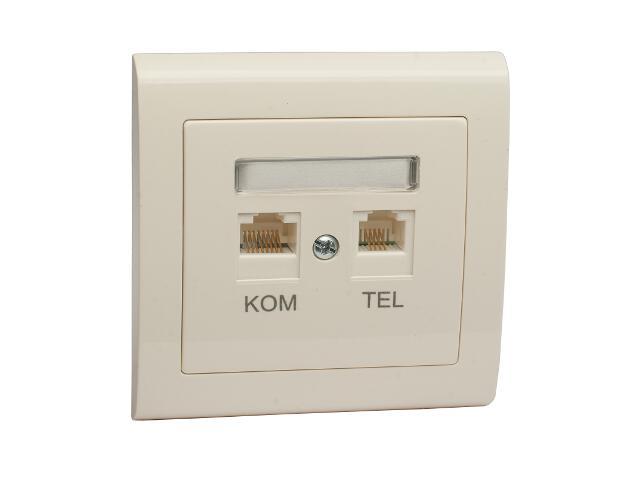 Gniazdo ścienne AURA komputerowo-telefoniczne GPKT-1U/F FOREX ecru Polmark