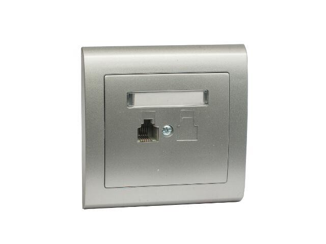 Gniazdo ścienne AURA telefoniczne pojedyncze GPT-1U srebrny Polmark