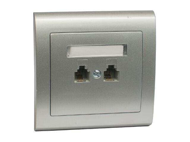 Gniazdo ścienne AURA telefoniczne podwójne równoległe GPT-2UR srebrny Polmark