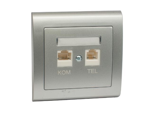 Gniazdo ścienne AURA komputerowo-telefoniczne GPKT-1U/F FOREX srebrny Polmark