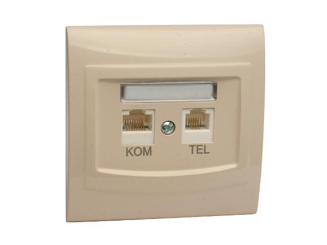 Gniazdo ścienne VEGA komputerowo-telefoniczne GPKT-1V/F FOREX beżowy Polmark