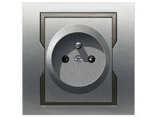 Gniazdo ścienne QUATTRO pojedyncze z/u GPT-2P+Z srebro grafit Elektro-plast N.