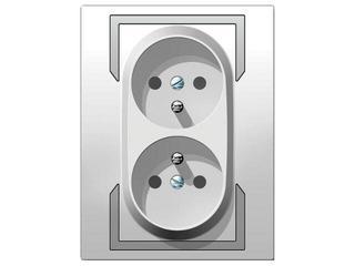 Gniazdo ścienne QUATTRO podwójne z/u GPT-2x2P+Z biały srebrny Elektro-plast N.