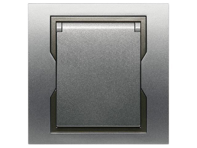 Gniazdo ścienne QUATTRO bryzgoszczelne GPT-2P+Z IP44 srebrny grafitowy Elektro-plast N.