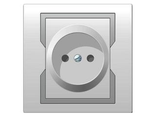 Gniazdo ścienne QUATTRO pojedyncze b/u GPT-2P biały srebrny Elektro-plast N.