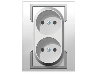 Gniazdo ścienne QUATTRO podwójne b/u GPT-2x2P biały srebrny Elektro-plast N.