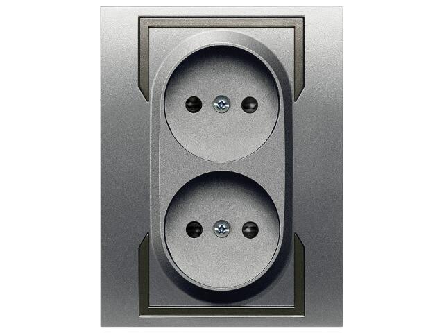 Gniazdo ścienne QUATTRO podwójne b/u GPT-2x2P srebrny grafitowy Elektro-plast N.