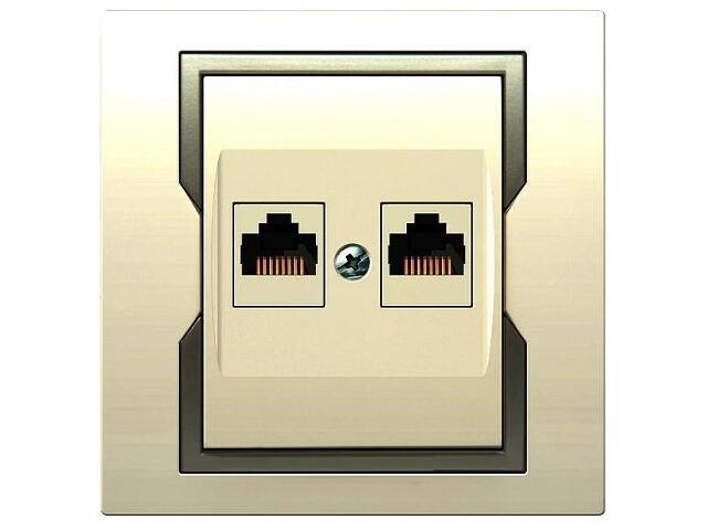 Gniazdo ścienne QUATTRO komputerowe podwójne GPT 2xRJ45 krem satyna Elektro-plast N.