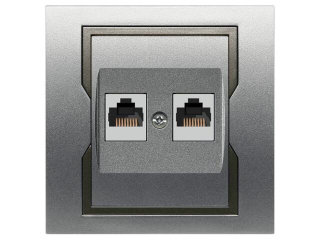 Gniazdo ścienne QUATTRO komputerowe podwójne GPT 2xRJ45 srebrny grafitowy Elektro-plast N.