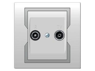 Gniazdo ścienne QUATTRO RTV końcowe GPT R-TV biały srebrny Elektro-plast N.