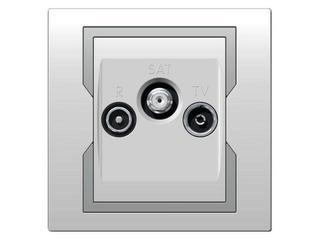 Gniazdo ścienne QUATTRO R-TV-SAT biały srebrny Elektro-plast N.