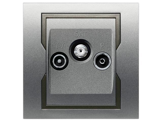 Gniazdo ścienne QUATTRO R-TV-SAT srebrny grafitowy Elektro-plast N.