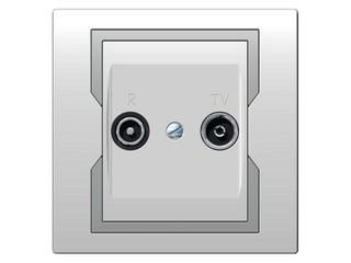 Gniazdo ścienne QUATTRO RTV przelotowe GPT R-TV 14 dB biały srebrny Elektro-plast N.