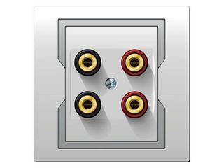Gniazdo głośnikowe QUATTRO podwójne GPT 2xG biały srebrny Elektro-plast N.
