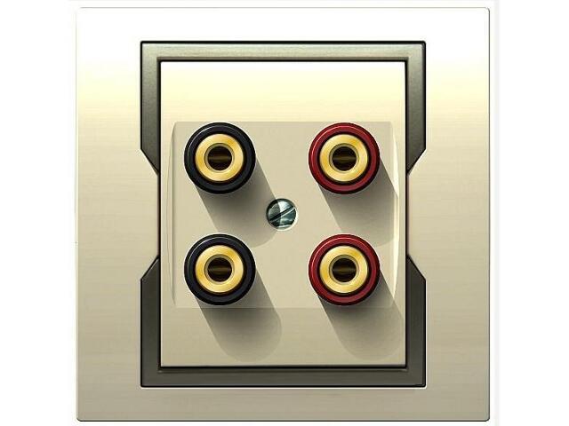Gniazdo głośnikowe QUATTRO podwójne GPT 2xG krem satyna Elektro-plast N.