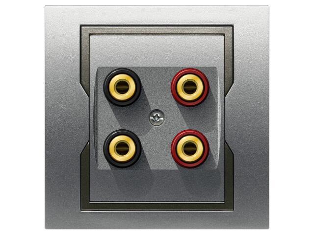 Gniazdo głośnikowe QUATTRO podwójne GPT 2xG srebrny grafitowy Elektro-plast N.