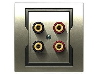Gniazdo głośnikowe QUATTRO podwójne GPT 2xG satynowy grafitowy Elektro-plast N.