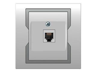 Gniazdo ścienne QUATTRO telefoniczne pojedyncze GPT 4c/6p biały srebrny Elektro-plast N.