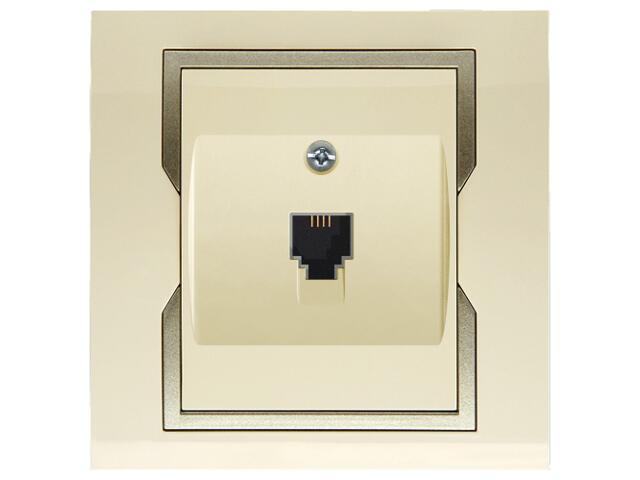 Gniazdo ścienne QUATTRO telefoniczne pojedyncze GPT 4c/6p krem satyna Elektro-plast N.