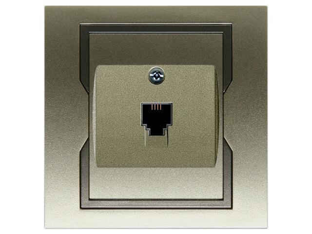 Gniazdo ścienne QUATTRO telefoniczne pojedyncze GPT 4c/6p satynowy grafitowy Elektro-plast N.