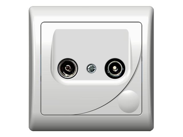 Gniazdo ścienne EFEKT RTV GAP-10 dB biały Ospel