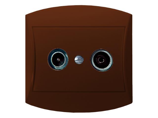 Gniazdo ścienne TOP RTV końcowe GAR 2,5-3 dB brązowy Ospel
