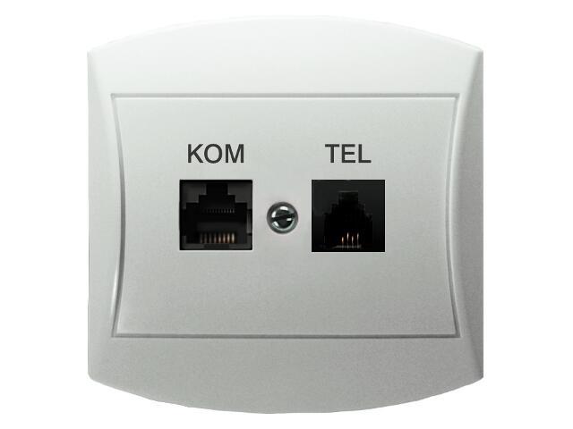 Gniazdo ścienne TOP komp-telef. RJ45/RJ11 kat.5e KRONE biały Ospel