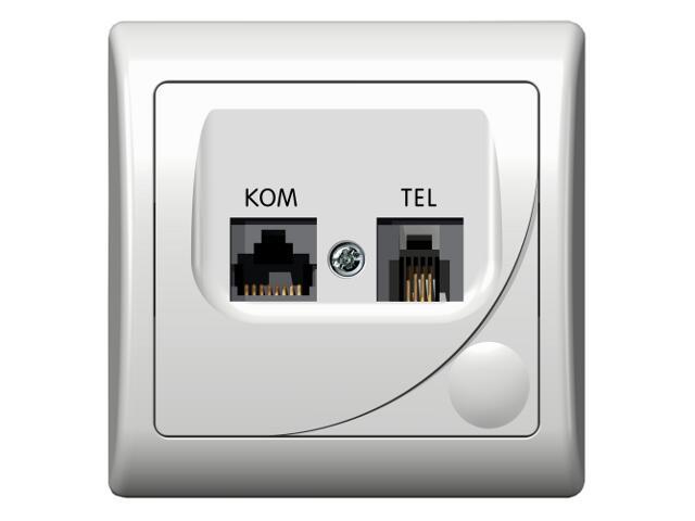 Gniazdo ścienne EFEKT komp-telef. RJ45/RJ11 KRONE biały Ospel
