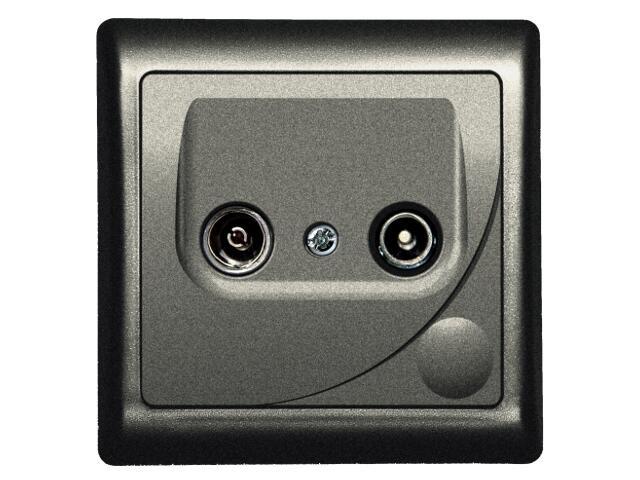 Gniazdo ścienne EFEKT METALIC RTV końcowe GAR 2,5-3 dB grafit Ospel