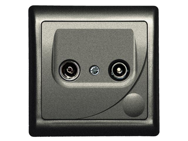 Gniazdo ścienne EFEKT METALIC RTV GAP-14 dB grafit Ospel