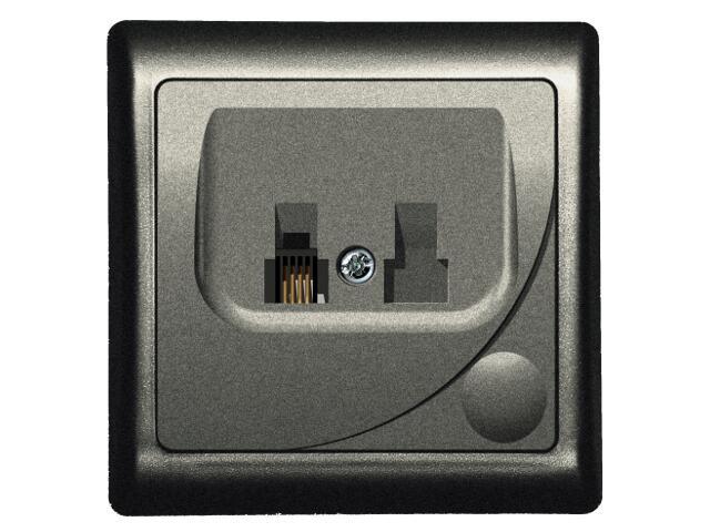 Gniazdo ścienne EFEKT METALIC telef. pojedyncze RJ 11 grafit Ospel