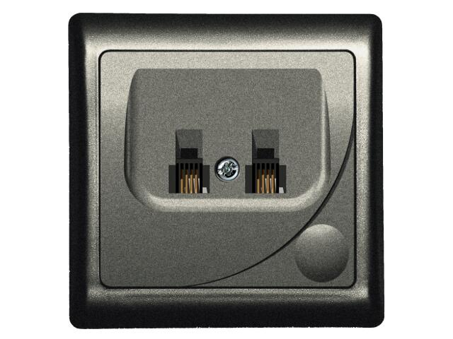 Gniazdo ścienne EFEKT METALIC telef. podwójne równoległe RJ 11 grafit Ospel