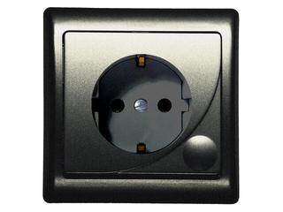 Gniazdo ścienne EFEKT METALIC pojedyncze z/u schuko grafit Ospel