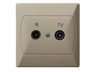 Gniazdo ścienne AKCENT RTV końcowe GAR 2,5-3 dB beżowy Ospel