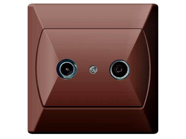 Gniazdo ścienne AKCENT RTV GAP-16 dB brązowy Ospel