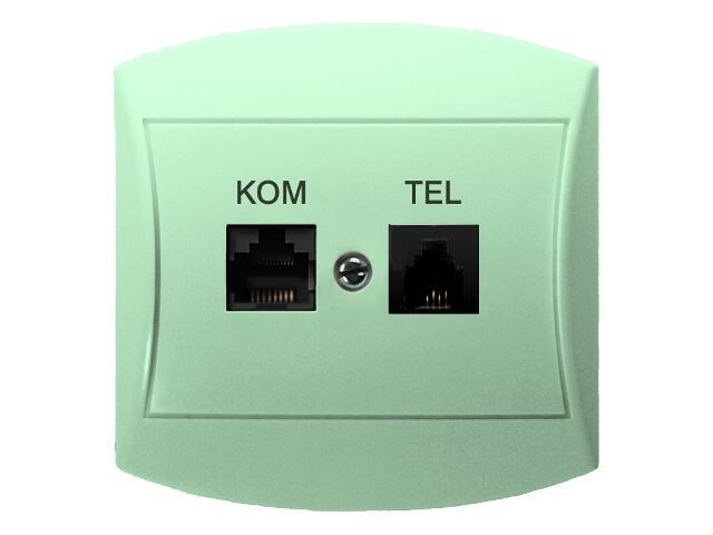 Gniazdo ścienne TOP komp-telef. RJ45/RJ11 kat.5e KRONE seledynowy Ospel