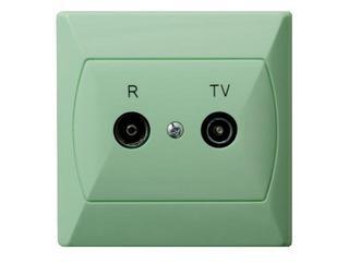 Gniazdo ścienne AKCENT RTV końcowe GAR 2,5-3 dB seledynowy Ospel